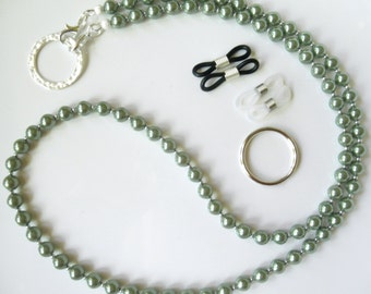 DISCONTINUED Sage Green Pearl Convertible Eyeglass Lanyard Chain Necklace - Glasses Chain - Keychain - Green Pearl Lanyard, ID Badge Lanyard