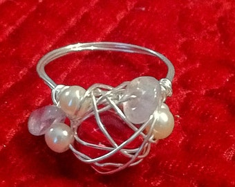 Mermaid Ring, Mothers Ring - Ruby glass, rose quartz, freshwater pearl wire wrapped ring - size 8-8.5