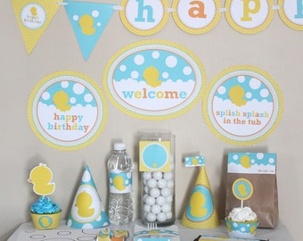 Rubber Ducky Birthday Decorations Printable - Rubbery Ducky 1st Birthday Yellow Aqua Blue - Instant Download - Rubber Duck Birthday Party -