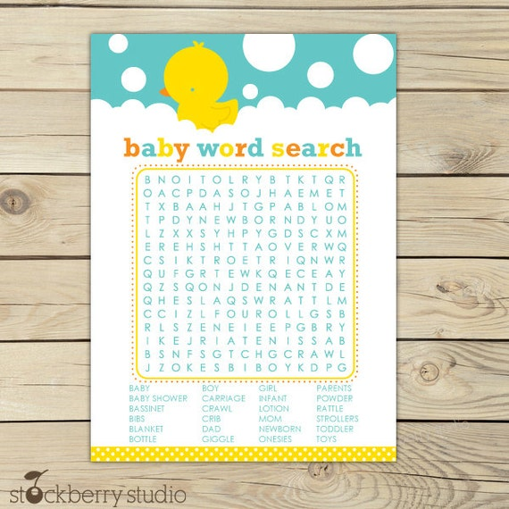 Rubber Ducky Baby Shower Word Search Game Printable - Neutral Baby Shower Games - Instant Download - Aqua Blue Yellow Duck Baby Shower Games