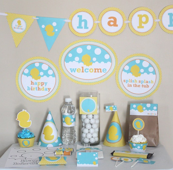 Rubber Ducky Birthday Decorations Printable - Yellow and Aqua Blue - Instant Download - Rubber Duck Birthday Party - Duck Birthday DIY Kit