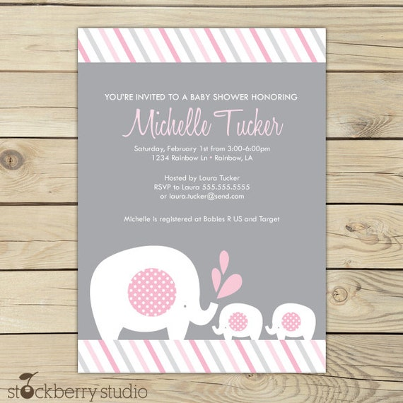 Girl twins baby shower invitation printable twin elephant baby il570xn filmwisefo