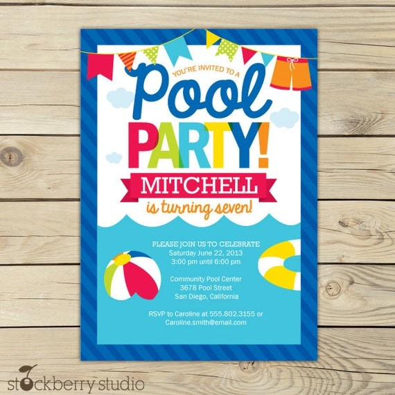 Pool Party Birthday Invitation Printable Pool Party Beach – Birthday Pool Party Invitation