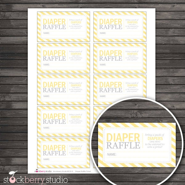 yellow baby shower diaper raffle tickets instant download