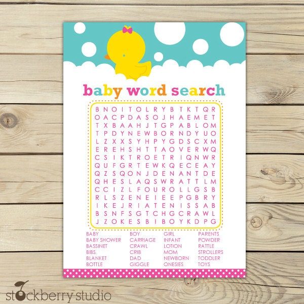 Exhilarating image for baby shower word search printable