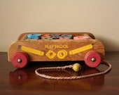 Vintage Playskool Wagon with Wooden Blocks