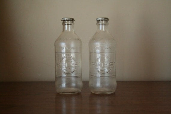 Vintage Glass Soda Bottles Two Clear Pepsi Bottles Instant