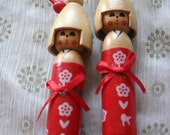 Red Kimono Girl - 1 Wooden Japanese Kokeshi doll