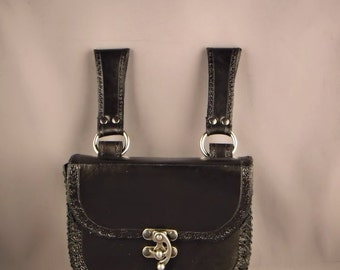 Leather pouch / bag - Black -