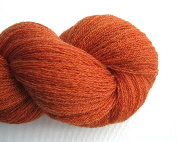 Lace Weight Yarn : Lace Weight Merino Wool Recycled Yarn, Pumpkin Orange, 1100 Yards