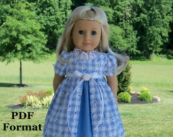 """PDF Sewing Pattern for American Girl: Caroline's Afternoon Gown / Sewing Pattern for 18"""" Dolls"""