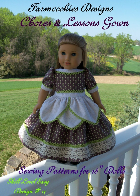 "PDF Sewing Pattern: Historical Chores & Lessons Gown with Tulip Apron/ Sewing Pattern Fits American Girl®  or Other 18"" Doll"