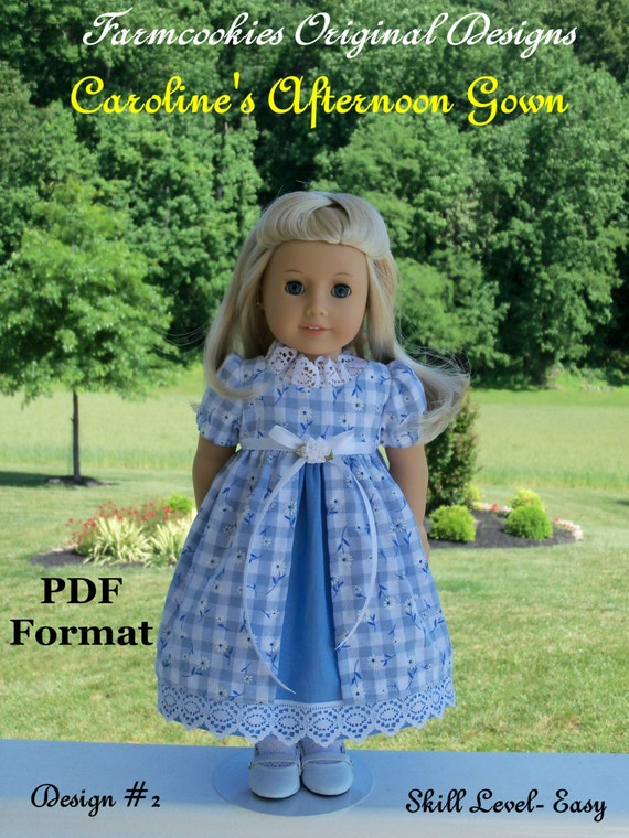 "PDF Sewing Pattern for American Girl: Caroline's Afternoon Gown / Sewing Pattern for 18"" Dolls"