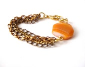 Chantale Yellow Ochre/Amber Agate Bronze and Gold boho chic repurposed chain Bracelet - LaNomRahDesigns