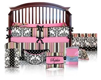 Sophie 5pc BABY GIRL Damask Crib Bedding Set - Custom Made