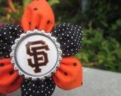 San Francisco Baseball Fabric Flower with Orange and Black Polka Dot Fabric with Bottle Cap Center for Giants Fans