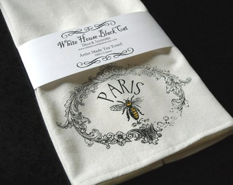 Tea Towel, French, Paris, Honey Bee, Hostess Gift, Mothers Day Gift, Gifts for Mom, Bee Tea Towel