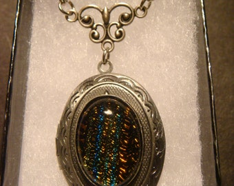 Victorian Style Dichroic Glass Locket Necklace in Antique Silver  (1003)