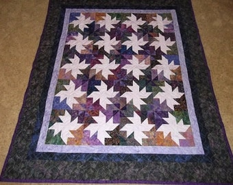 Batiks with a Spin Patchwork Quilt Blanket