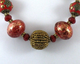 Chinese Red and Gold Choker Statement Necklace