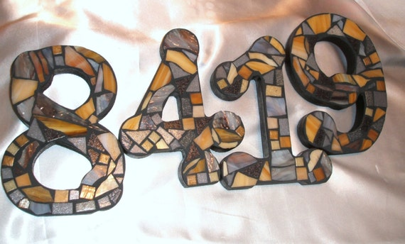 Custom Made Stained Glass Mosaic House Numbers - Your Color Choice  (These are in shades of tans & greys)