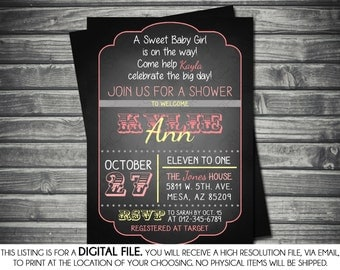 Girls Baby Shower Invitation -Modern, Chalkboard, Pink, Yellow,  Printable, Digital