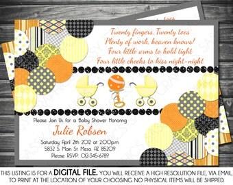 Twins Gender Neutral Baby Shower Invitation - Orange, Yellow, Black, Printable, Digital
