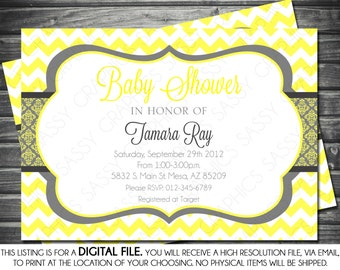 Gender Neutral Baby Shower Invitation - Yellow, Gray, Printable, Digital