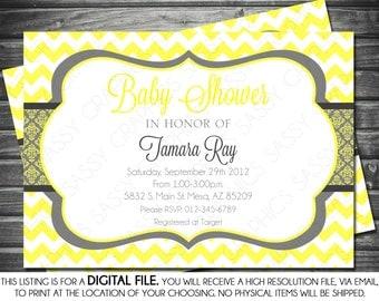 Gender Neutral Baby Shower Invitation - Yellow, Gray, Printable, Digital