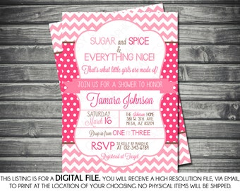 Girls Baby Shower Invitation - Chevron, Polka Dots, Pink, Brown, Printable, Digital