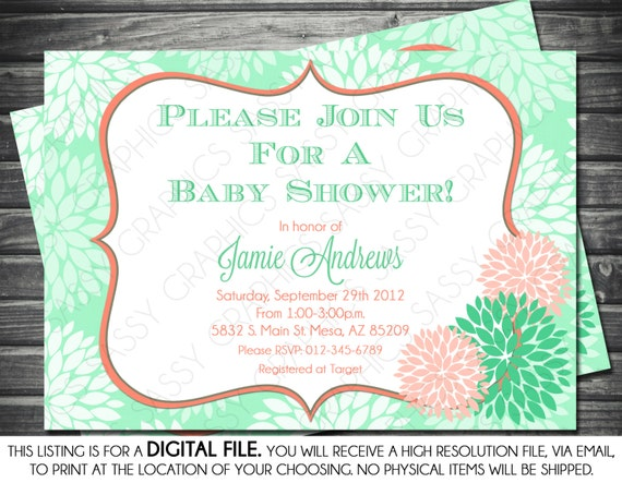 Girls baby shower invitation modern floral mint and pink il570xn filmwisefo Gallery