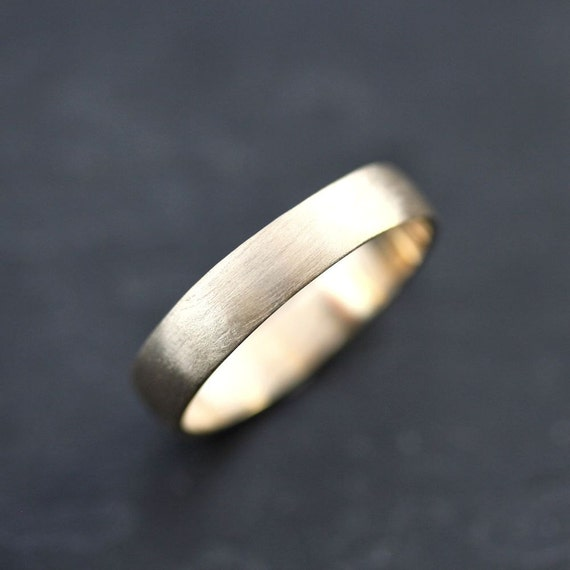 Men's Gold Wedding Band 4.5mm Low Dome 14k Recycled Hand