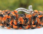 Oklahoma State University OSU Cowboys Inspired 550 Cobra Paracord Survival Strap Braid Bracelet Anklet With Stainless Steel Shackle