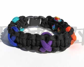 Multiple Awareness Ribbon 550 Paracord Survival Strap Bracelet Anklet with Plastic Contoured Side Release Buckle