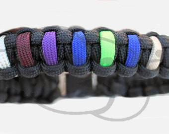 "Custom Birthstone Color on 550 Paracord Survival Strap Bracelet Anklet with 3/8"" Plastic Contoured Side Release Buckle"