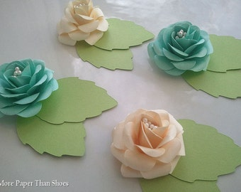 Placecards - Entree Cards - Paper Flowers - Weddings - Table Decorations - Set of 25 - Made To Order