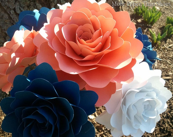 Paper Flowers - Weddings  -  Home Decor - Party Decorations - X-Large Stemmed Flowers  - Wide Variety Of Colors - Set of 12  - Made To Order