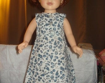 Handmade 18 inch Doll a-line maxi dress in blue fruit print - ag13