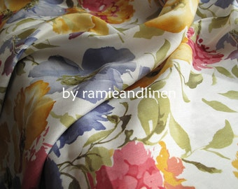 "silk fabric, silk linen blend floral print fabric, half yard by 44"" wide"