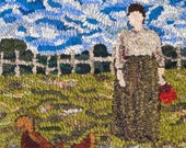 Woman Feeding Chickens Rug Hooking Pattern, Instant Download