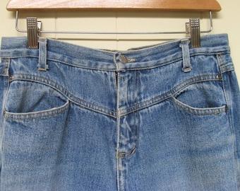 Vintage 1980s Jeans / 80s Slouchy Faded Blue Denim Jeans / 30 Waist
