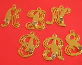 Listing is for One Fancy Script Letter Charm with Rynstone