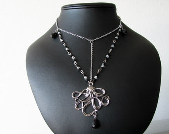 Silver Octopus, Steampunk necklace