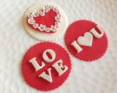 Valentine Fondant Cupcake Cookie Toppers