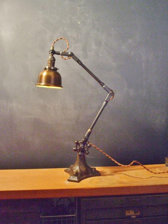 Vintage Industrial Desk Lamp w Bell Cage Machine Age Task