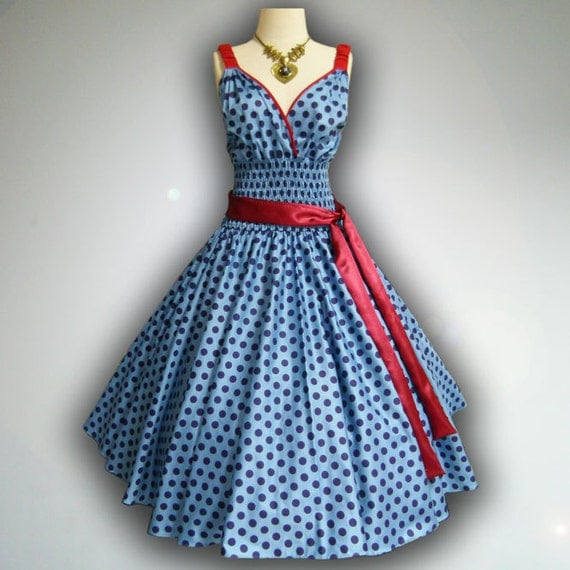 Gorgeous Blue Big Blue Polka Dot 50s Pin up Rockabilly Swing Dress Full Swing Skirt size L