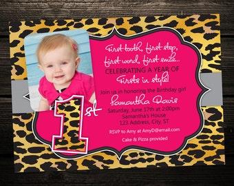 Leopard print Birthday Invitation, First Birthday Photo Invitation, Hot pink and leopard, printable invitation, Any Color