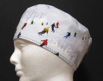 Mens Scrub Hat, Surgical Cap, Chemo Cap Snow Skiing Skiers