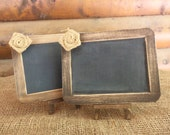 Rustic Chic CHALKBOARD Signs with Matching EASELS - SET of 2 - 4x6 Size with Cute Burlap Flower - Natural or Rustic Stain