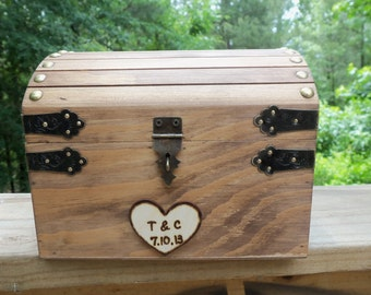 CoUPON CoDE:  BLKFRI10 - Cute Rustic Wedding Box with Personalized Heart, Slot and Lock/Key Set - INCLUDED in the price